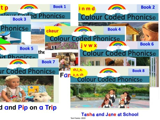 Colour Coded Phonics complete Phase 2 Phonics books guided reading