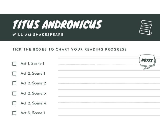 FREE Titus Andronicus Scene Checklist | Reading Progress