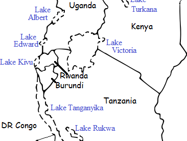 AFRICAN GREAT LAKES - Printable worksheet with map