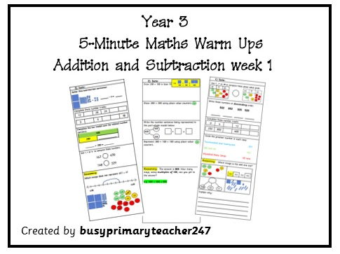 Year 3 - Question strips - addition and subtraction - 5 tasks