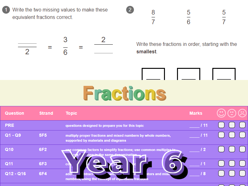 Fractions Worksheet + Answers (KS2 - Year 6)