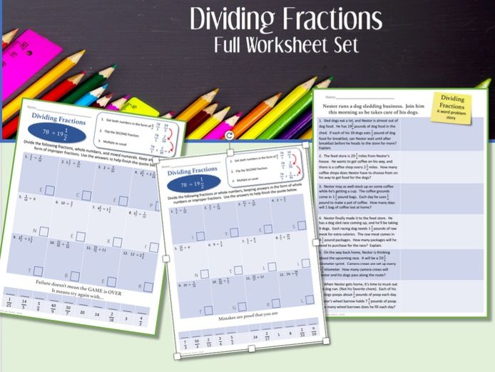 Dividing Fractions  --Full worksheet set and video