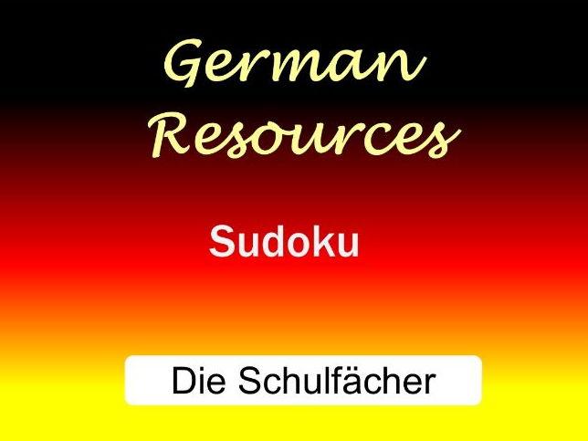 German Puzzles - Die Schulfächer - Sudoku