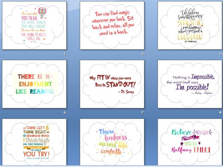 Reading Corner/Growth Mindset quotes display clouds