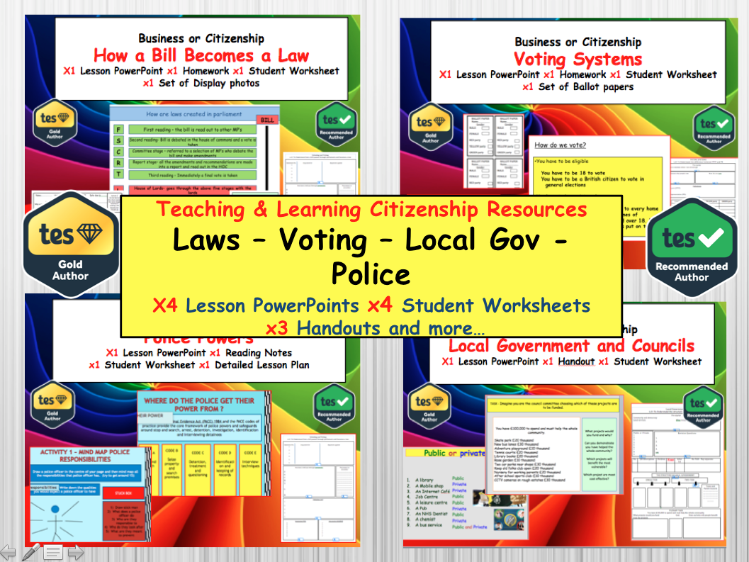 Politics: Voting Systems, Police Powers, How a bill becomes a law and Local Government Citizenship PSHE