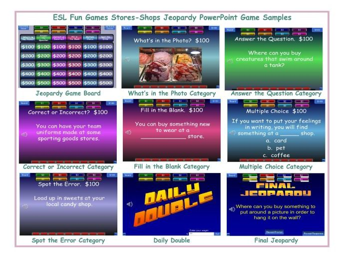 Stores-Shops Jeopardy PowerPoint Game