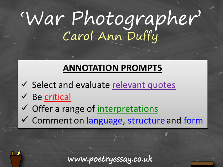 Carol Ann Duffy – 'War Photographer' – Annotation / Planning Table / Questions / Booklet