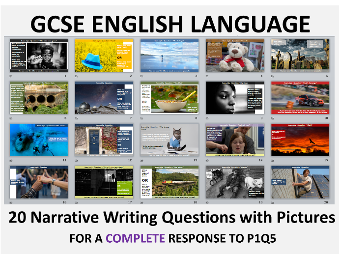 20 GCSE English Language Paper 1 Q5 Style Narrative Writing Questions with Pictures