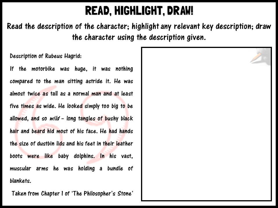 Read, highlight, draw! Rubeus Hagrid