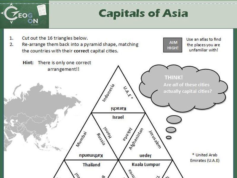 Capitals of Asia Triangle Puzzle