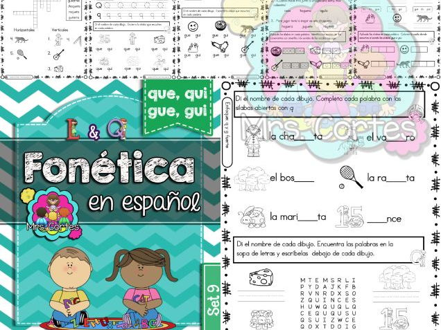 Spanish Phonics Book Set #9: Sílabas que, qui, gue, and gui
