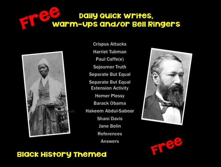 FREE - 11 Black History Month Daily Quick Writes, Warm-Ups or Bell Ringers