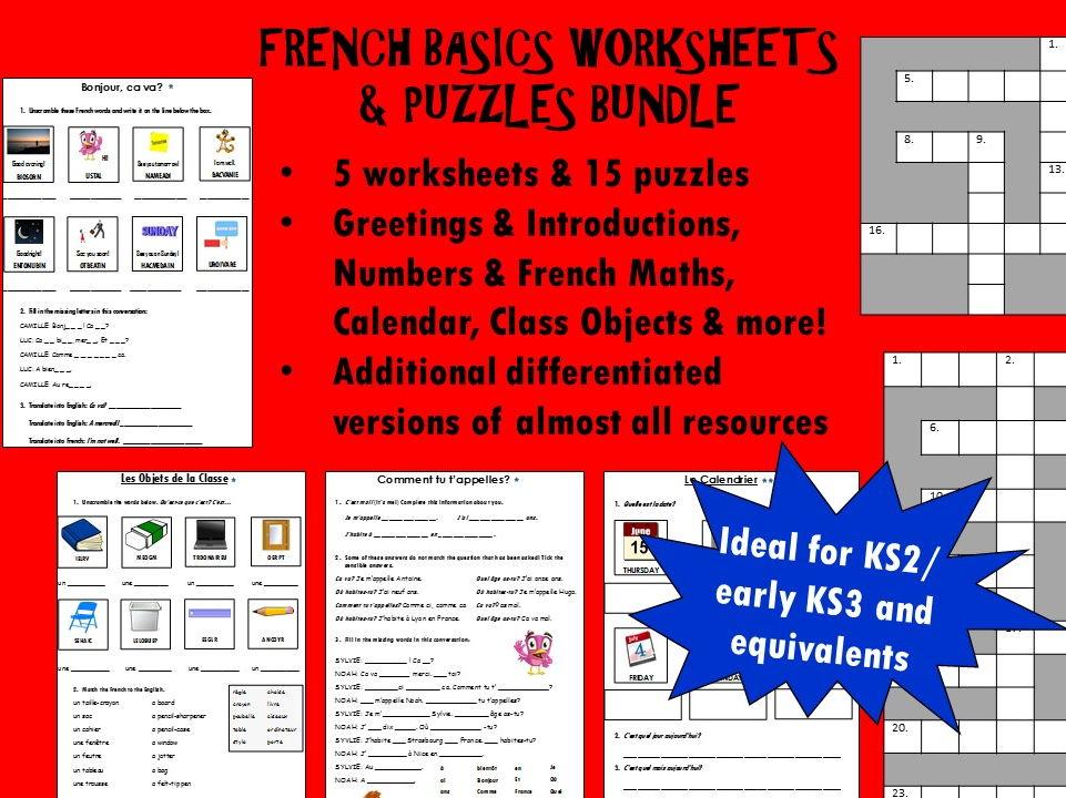 French Basics Worksheets /  Puzzles Bundle