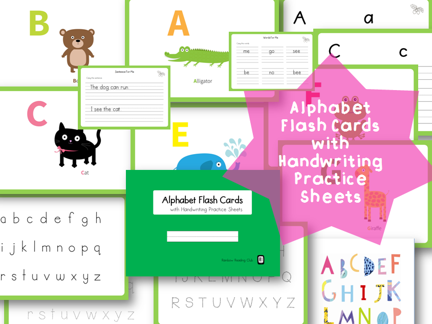 Alphabet Flash Cards with Handwriting Practice Sheet