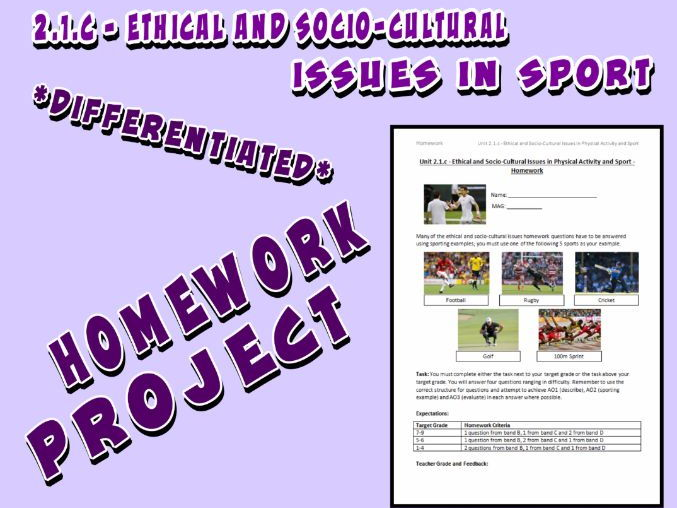 OCR GCSE PE 9-1 (2016) 2.1.c - Homework Project - Ethical and Socio-Cultural Issues in Sport