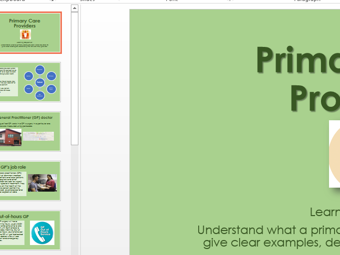BTEC Health & Social care Level 1/2 Component 2 - Primary Care Providers
