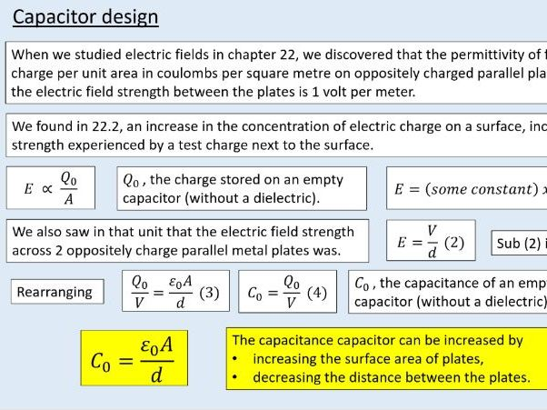 A level Physics (23.4) Dielectrics (Capacitors)
