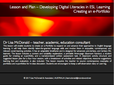 Lesson and Plan – Developing Digital Literacies in ESL Learning - Creating an e-Portfolio