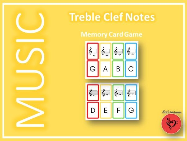 Treble Clef Notes Memory Card Game