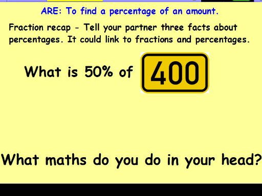 Percentages step by step lesson and resource pack and assesment x 4
