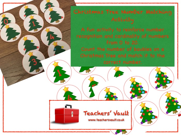 Christmas Tree Number Matching Activity