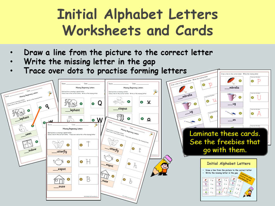 More Alphabet letters activities, Matching pictures to letters, Upper/Lower case, Trace over dots