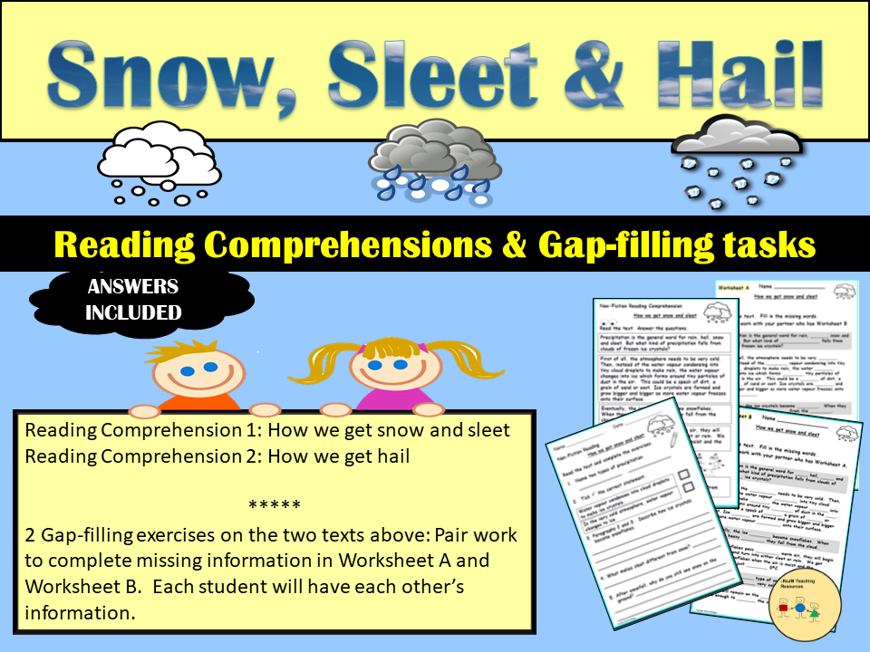 Reading Comprehension Non Fiction Worksheets-Snow, Sleet and Hail, Gap-filling (Cloze activities)