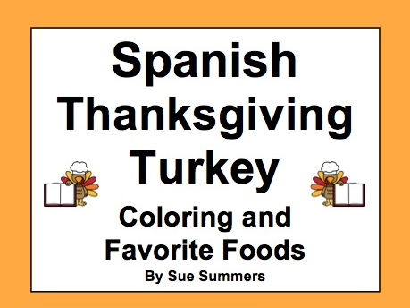 Spanish Thanksgiving Turkey Coloring and Favorite Foods