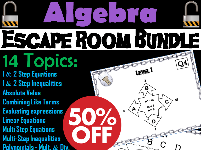 Algebra Escape Room Bundle