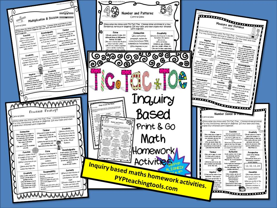 Tic Tac Toe Inquiry Based Math Homework Activities 3rd-4th Grade