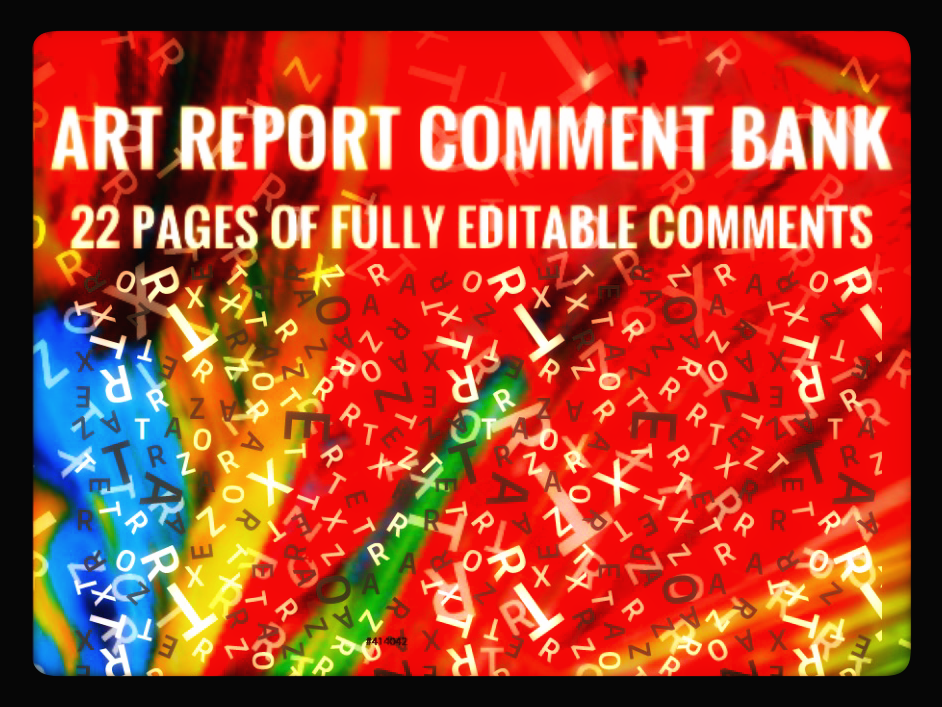 Art Report Comment Bank for 2018-19