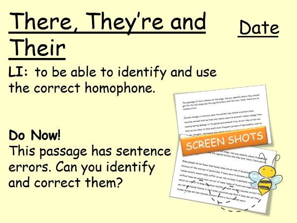 KS3 Literacy: There, They're & Their