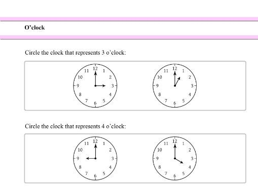 Learning the Time - O'clock - for Reception and Year 1 Students