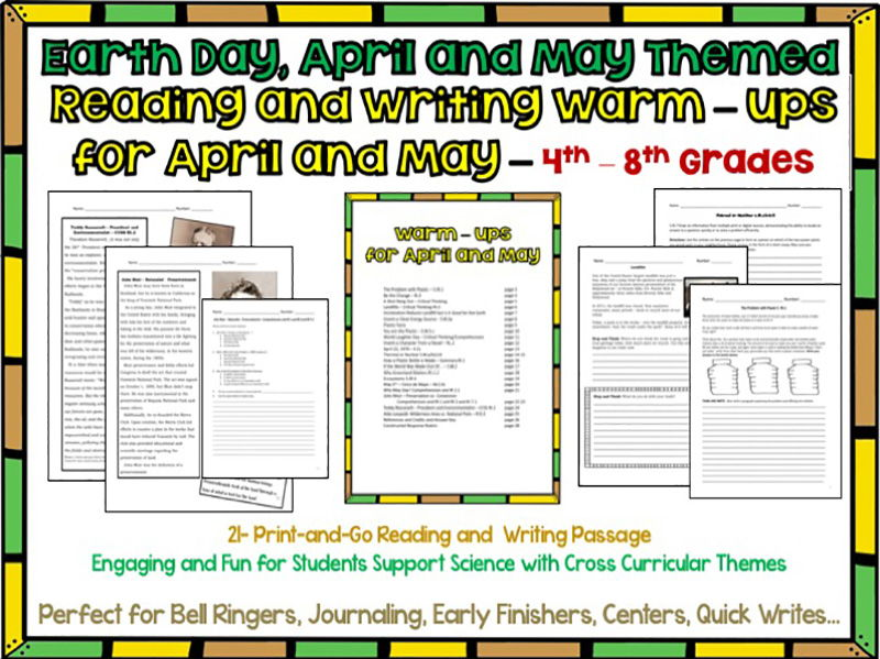Daily Reading and Writing Warn-Ups for Earth Day, April and May Themed 4th-8th Grades