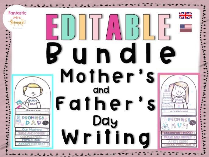 Mother's and Father's Day Writing: easy craft flip book BUNDLE