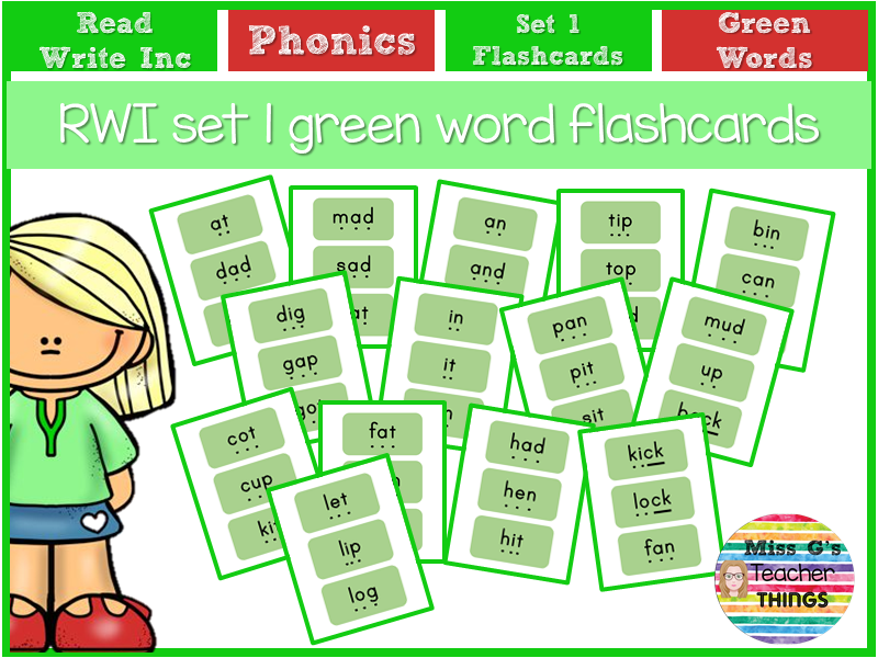 RWI set 1 green word flashcards