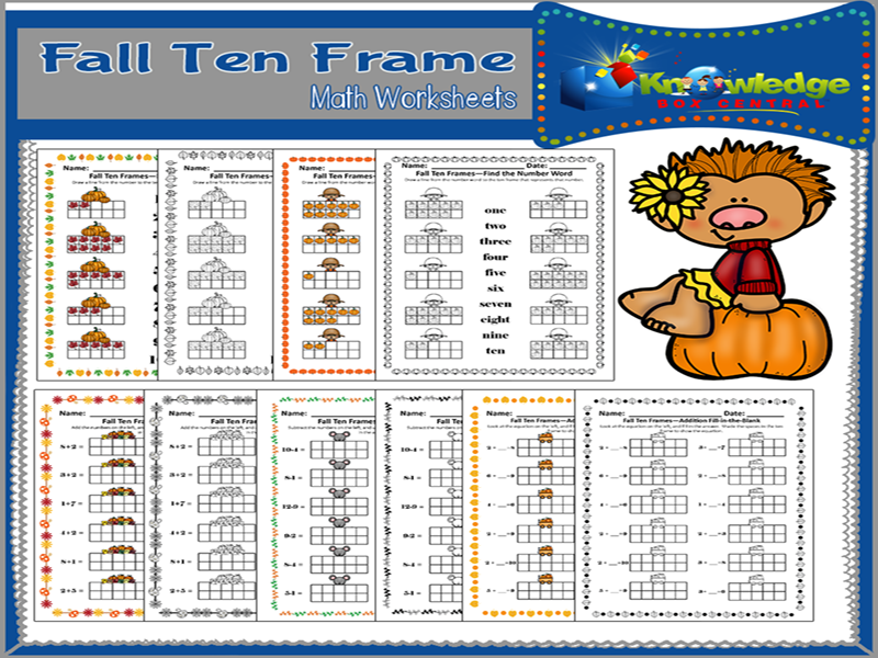 Fall Ten Frame Math Worksheets