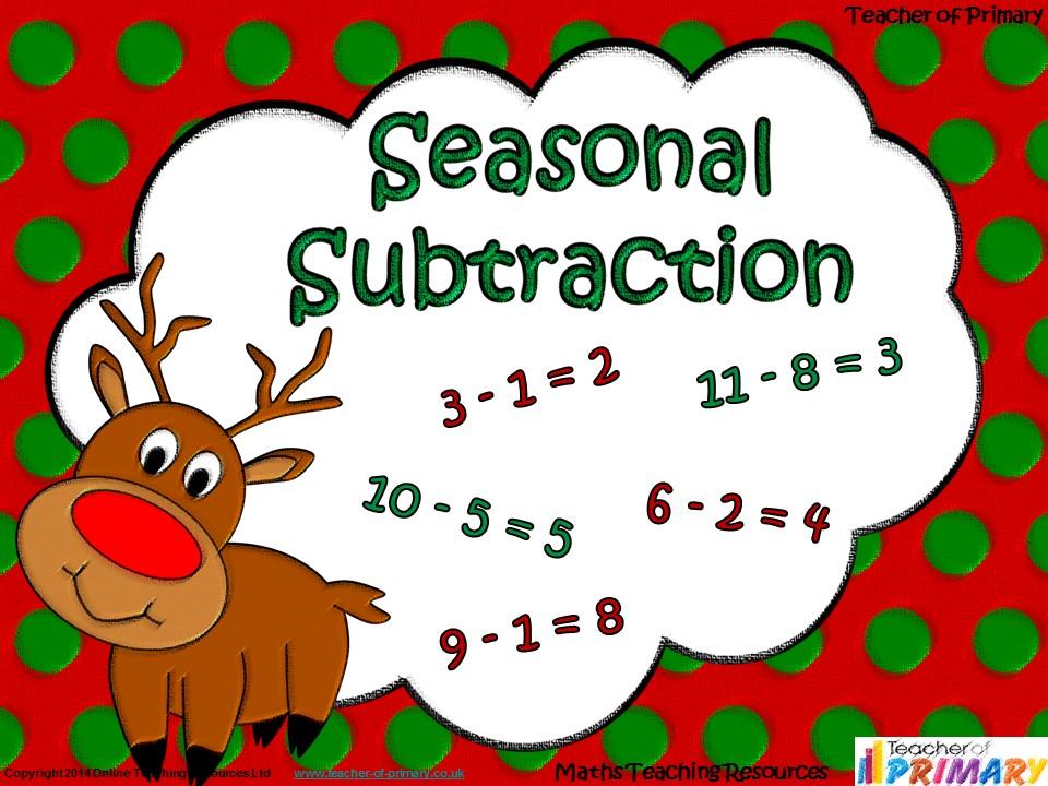 Seasonal Subtraction - EYFS/KS1 animated PowerPoint presentation and worksheets