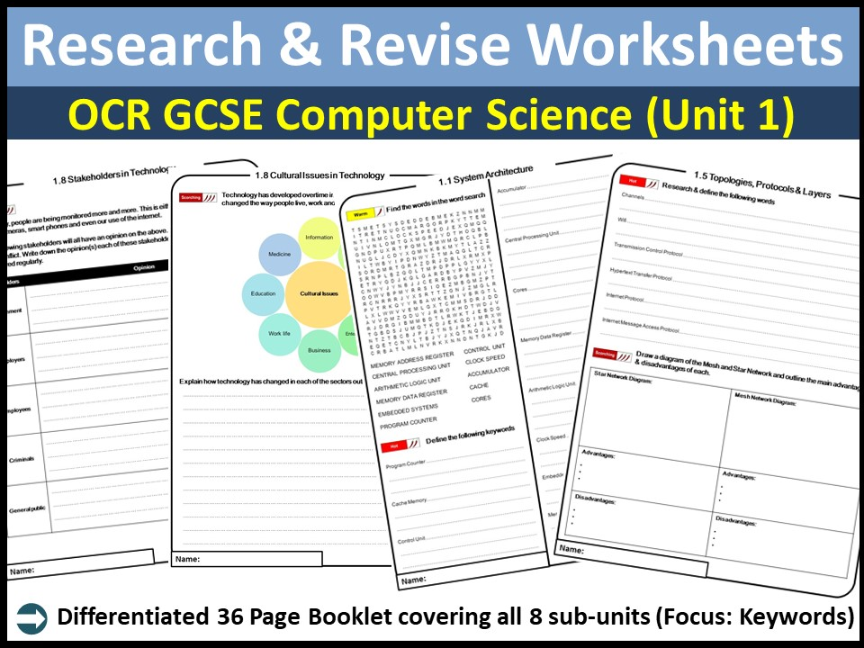 OCR GCSE Computer Science (9-1) - Research & Revise Work Book