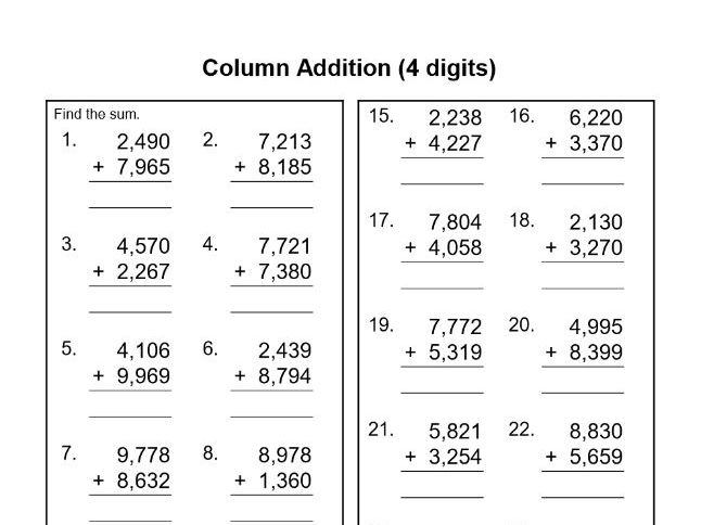 Standard column addition practice by fuzzy90 - Teaching Resources - Tes