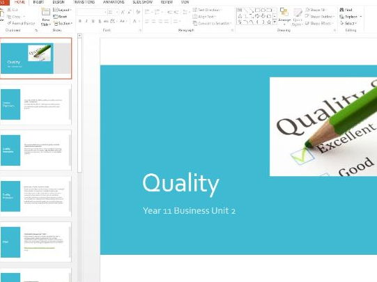 Business Studies - Quality: Control, Assurance, TQM and Benchmarking