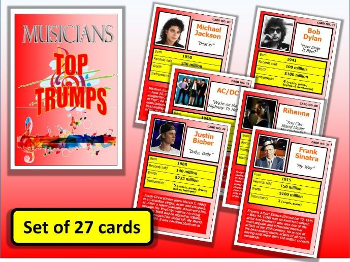 Famous Musicians Top Trumps Card Game set of 27 Music Lesson Starter Plenary