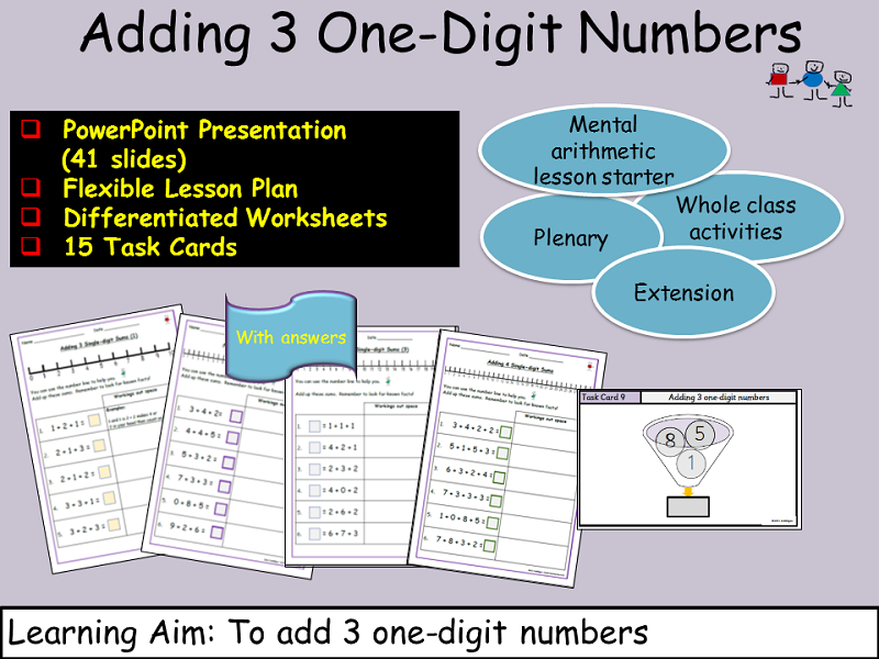 Addition: 3 Adding 3 One-Digit Numbers, Presentation, Lesson Plan, Worksheets, Task Cards