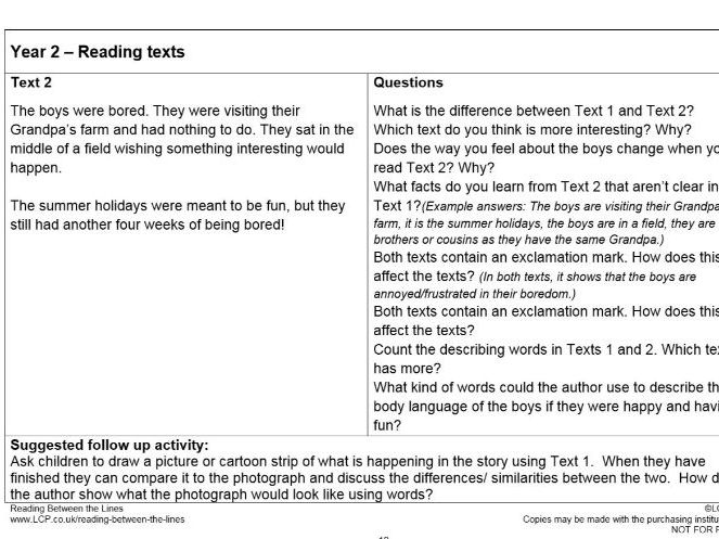 Year 1/2 (KS1) Reading Between the Lines: Teaching Inference and Deduction (all resources included).