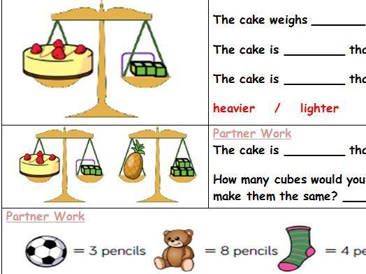 Year 1 MATHS HUB worksheet - heavier and lighter - Day 1 Partner work