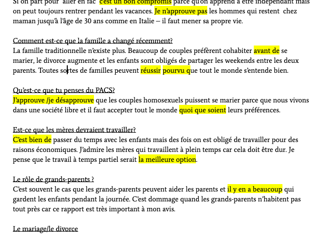 A Level French Oral Exam: Example Questions/Answers
