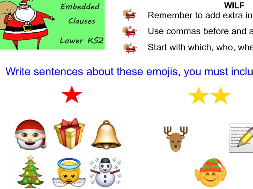 Christmas IWB KS2 embedded clauses English Literacy extending sentences