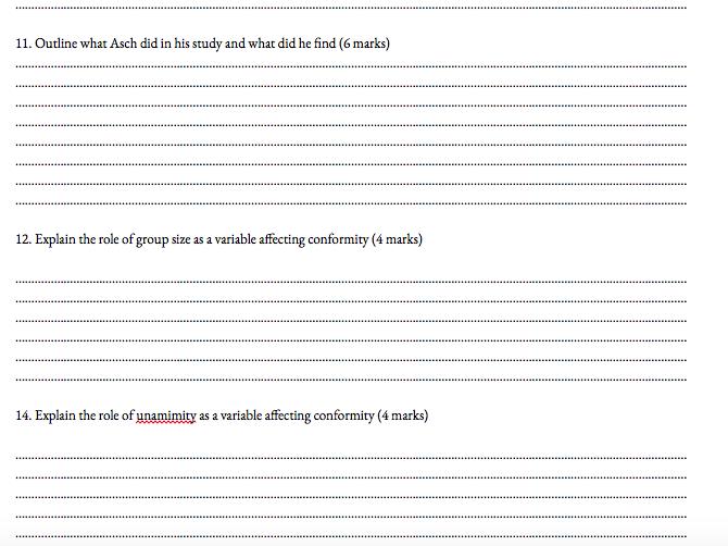 Psychology AQA paper 1 past paper booklet