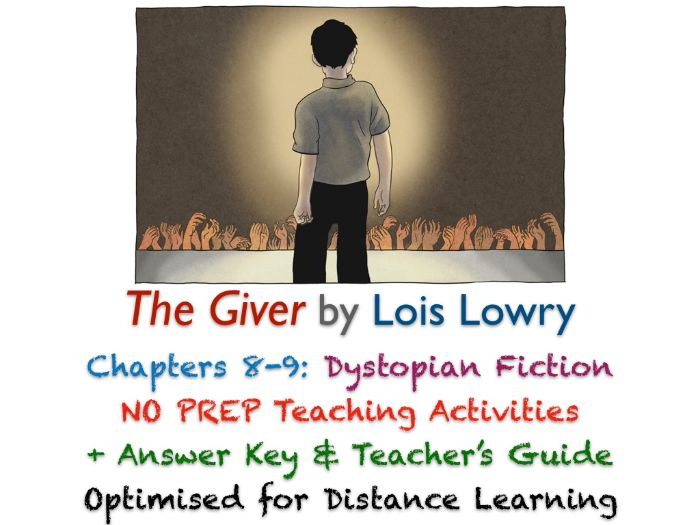 The Giver (Lois Lowry) - Chapters 8-9 - Dystopian Fiction - ACTIVITIES + ANSWERS