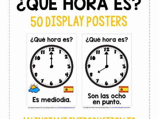 SPANISH TELLING THE TIME (1) - 50 POSTERS PACK - O'CLOCK, HALF PAST, QUARTER TO/PAST